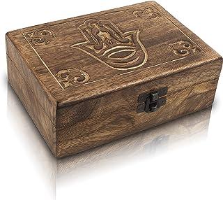Great Birthday Gifts Handmade Decorative Wooden Jewelry Box Hamsa Hand Carving Jewelry Organizer Keepsake Box Treasure Che...