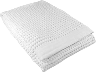 Gilden Tree Premium Waffle Weave Bath Towel 100% Natural Soft Thin Cotton Large Ultra Absorbent Quick Dry Lint Free Cloth Fade Resistant (White)