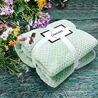 DANUBEE Premium Flannel Fleece Throw Blanket for Sofa Couch | Waffle Textured Soft Fuzzy Throw | Twin Size Bed | Warm Cozy Microfiber | Lightweight, All Season Use | 59''78'' | Mint Green