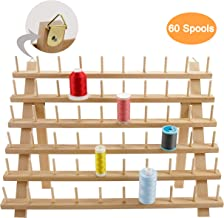 New brothread 60 Spools Wooden Thread Rack/Thread Holder Organizer with Hanging Hooks for Embroidery Quilting and Sewing Threads