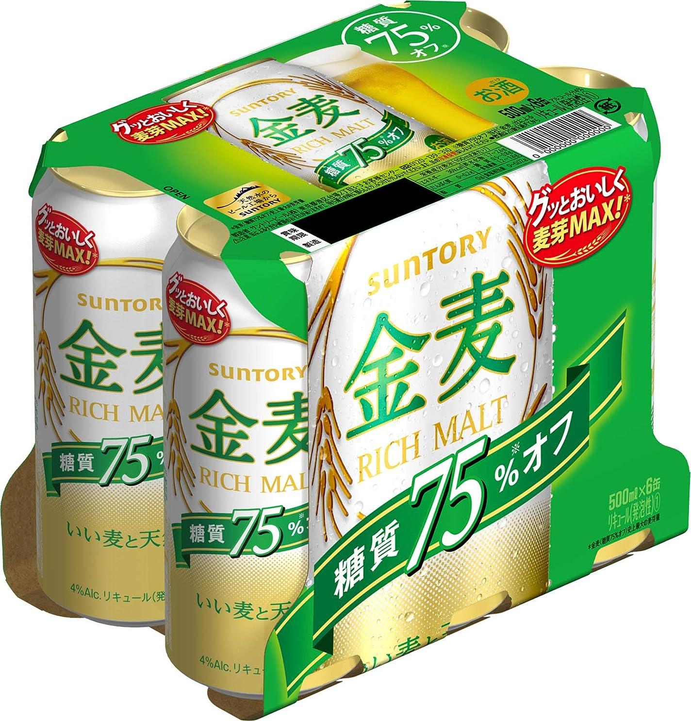 無能軽食バックグラウンドサントリー 金麦 糖質75%オフ 500ml×6缶