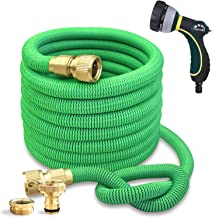 TheFitLife Expandable Garden Hose with Strongest Triple Core Latex & Solid Brass Fittings 8 Pattern Spray Nozzle AU Standard Expending Kink Free Easy Storage Best Flexible Water Hose (50 Feet / 15 M)
