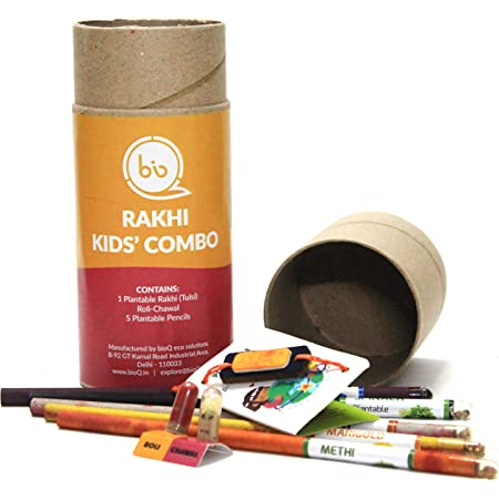 bioQ Eco Friendly Plantable Rakhi Set Containing Seeds Orange Sun : Grow Kit with Coco Pot Planter and Coco Peat and Stationery Gifts