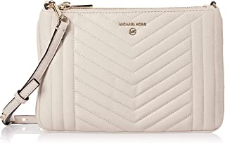 MICHAEL KORS Womens Large Double Pouch Cross body Bag, Light Cream