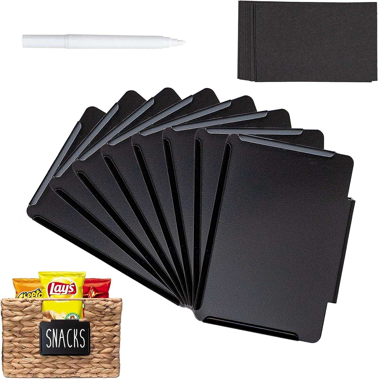 8 Pack Steel Bin Labels Clip On | Basket Labels Clip On | Pantry Labels | Labels for Storage Bins | Storage Labels | Chalkboard Labels for Storage Bins | Label Holder w/Bonus Stickers + Chalk Marker