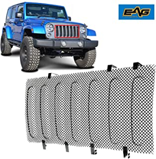 EAG Fit for 07-18 Jeep Wrangler JK Wire Mesh Grille Bug Screen (Stainless Steel)