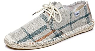 Altxic Men's Checked Comfortable Canvas Espadrille Flat Loafer