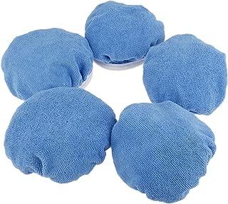 5Pcs Blue 7-8 inch Cotton Plush Car Polishing Waxing Polisher Bonnet Buffing Pad Cover