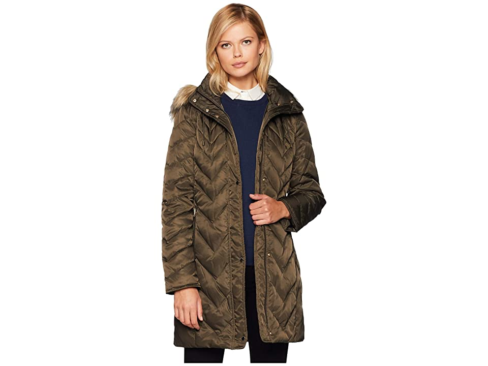 Marc New York by Andrew Marc Roxbury Matte Satin Down Fill Puffer 38 Faux Fur Trim Hood (Olive) Women