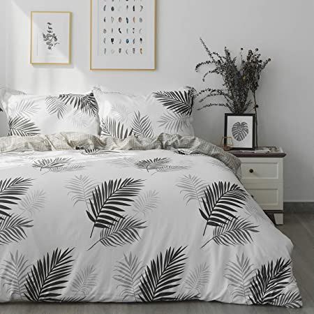 OAITE Duvet Cover Set, 100% Cotton Duvet Cover, Ultra Soft and Easy Care, Bedding Twin Queen King Size Set, 3-Piece Duvet Cover Set Includes 2 Pillow Shams (Black-White-Leaves, Twin)