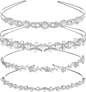 TecUnite 4 Pieces Wedding Party Crystal Flower and Leaves Crown Headband and Women's Faux Pearl Rhinestones Headdress for Bride Bridesmaids (Style Set 2)