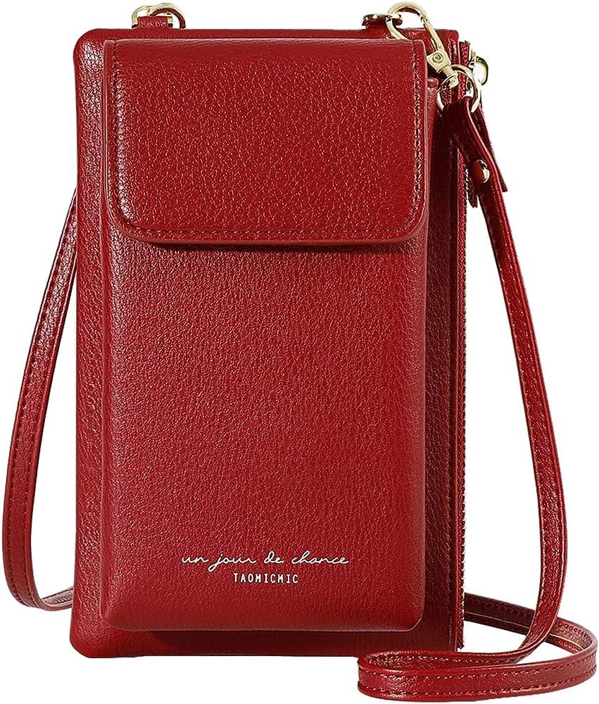 Aeeque borsa portafoglio porta carte di credito porta cellulare per donna a tracolla in pelle sintetica AEDB500013RE