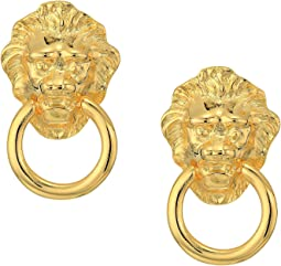 Kenneth Jay Lane - Polished Gold Lion Head Doorknocker Pierced Earrings