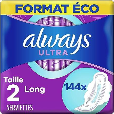 Always Ultra, Serviettes Hygiéniques Long, Taille 2 avec Ailettes, Super absorbantes et Ultra Fines, Format Eco x144 (12 packs de 12 unités)