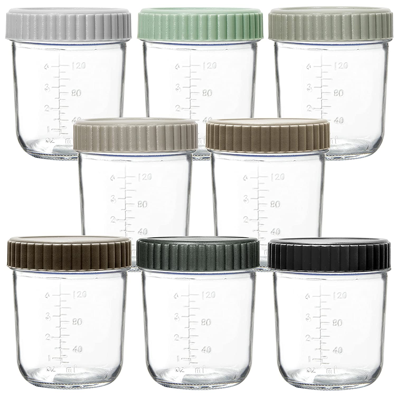 Youngever Glass Baby Food Storage, 6 Ounce Baby Food Glass Containers with Airtight Lids, Glass Jars with Lids, 8 Urban Colors