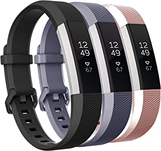 Keasy Replacement Bands Compatible with Fitbit Alta and Fitbit Alta HR, Soft Silicone Wristbands with Secure Metal Buckle for Men Women