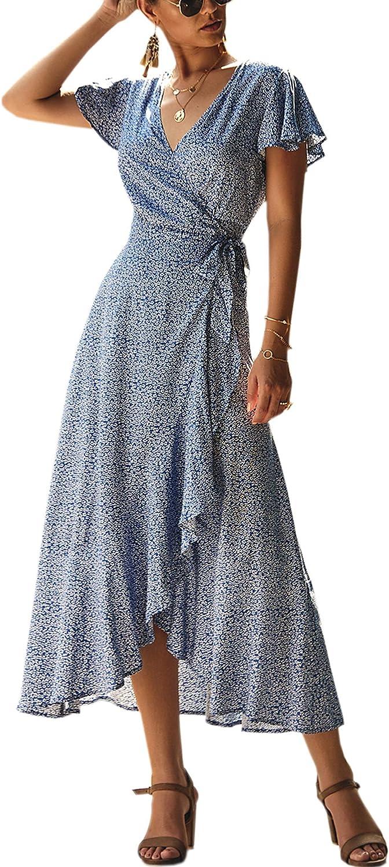 ECOWISH Womens Dresses Bohemian Wrap V Neck Short Sleeve Ethnic Style High Split Beach Maxi Dress