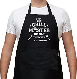 BBQ Apron Cooking Kitchen Funny Apron - The Grill Master, The Man The Myth The Legen - Black Apron With Pockets