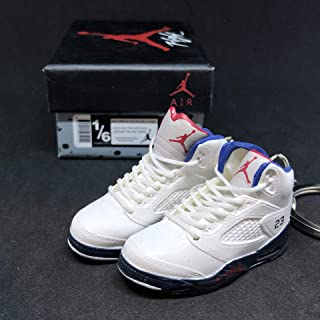 Pair Air Jordan V 5 Retro Fire Red White Independence Day OG Sneakers Shoes 3D Keychain 1:6 Figure + Shoe Box
