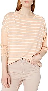 NINE WEST Women's Josie Drop Shoulder Long Sleeve Knit Top, Peach Nougat Stripe, Small