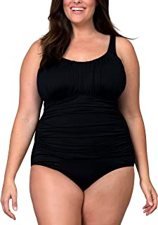 Caribbean Sand Ruched Plus Size One Piece Swimsuit for Women with Tummy Control