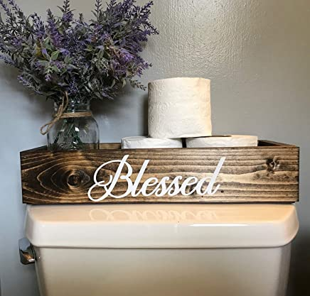 Blessed Decor Dark Walnut Toilet Topper Bathroom Storage Box Bin Toilet Paper Holder