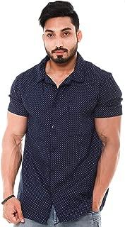 Twist Mens Cotton Navy Blue Half Sleeve Shirt