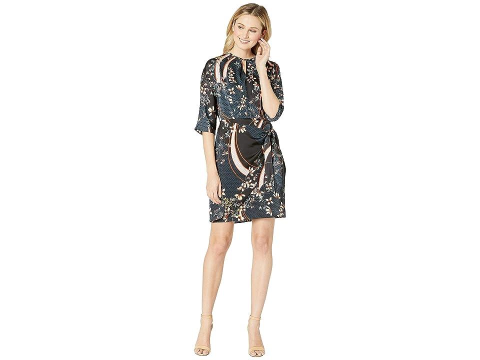 London Times Dolman Sleeve, Keyhole Wrap Dress (Navy/Flame) Women