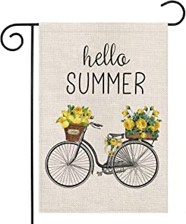 LARMOY Hello Summer Garden Flag for Outside,Bicycle with Lemons Flowers,12×18 Inch Vertical Double Sided,Welcome Summer Ya...
