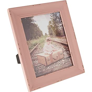 DII Z02253 Rustic Farmhouse Distressed Wooden Picture Frame for Wall Hanging or Desk Use, 8x10, Blush