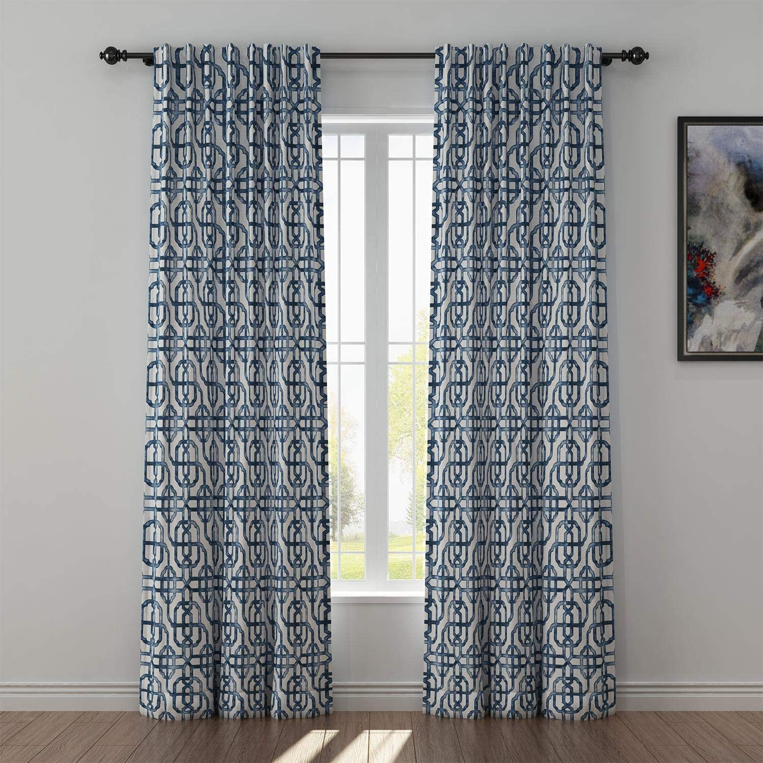 Surprise price TWOPAGES Print Linen Curtain 96 Long New life Darkenin Solid Inches Room