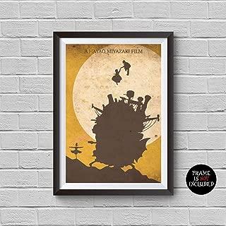 Howl's Moving Castle Minimalist Poster Hayao Miyazaki Animation Movie Alternative Print Anime Inspired Cinema Collection Hauru no ugoku shiro Artwork Wall Decor Illustration Art Wall Hanging Cool Gift