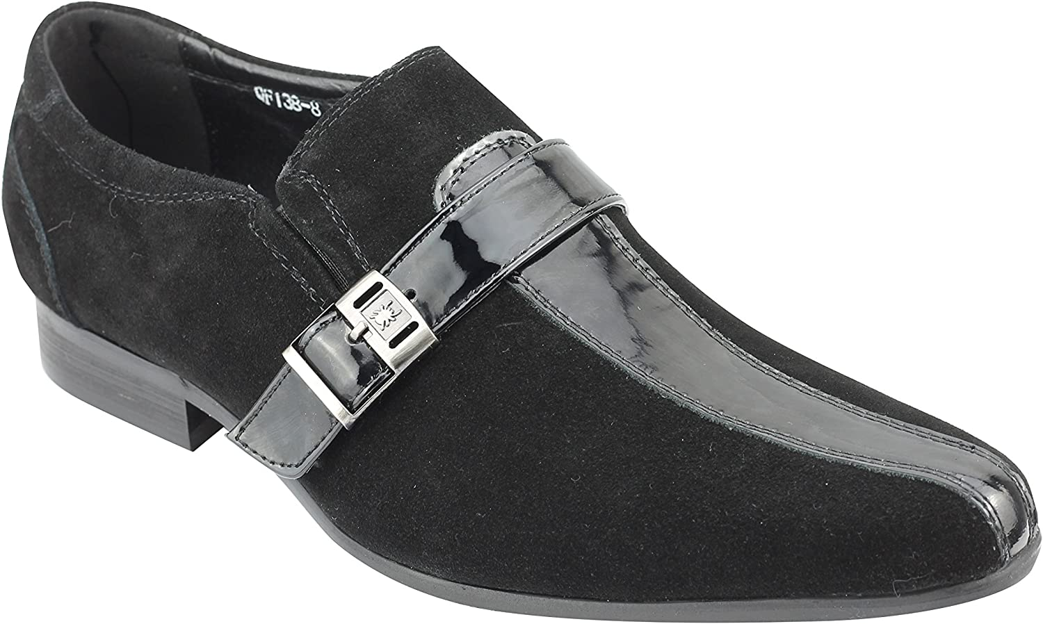 Xposed Mens Real Suede & Patent Leather Black Retro MOD Loafers Smart Casual Monk Strap Dress shoes