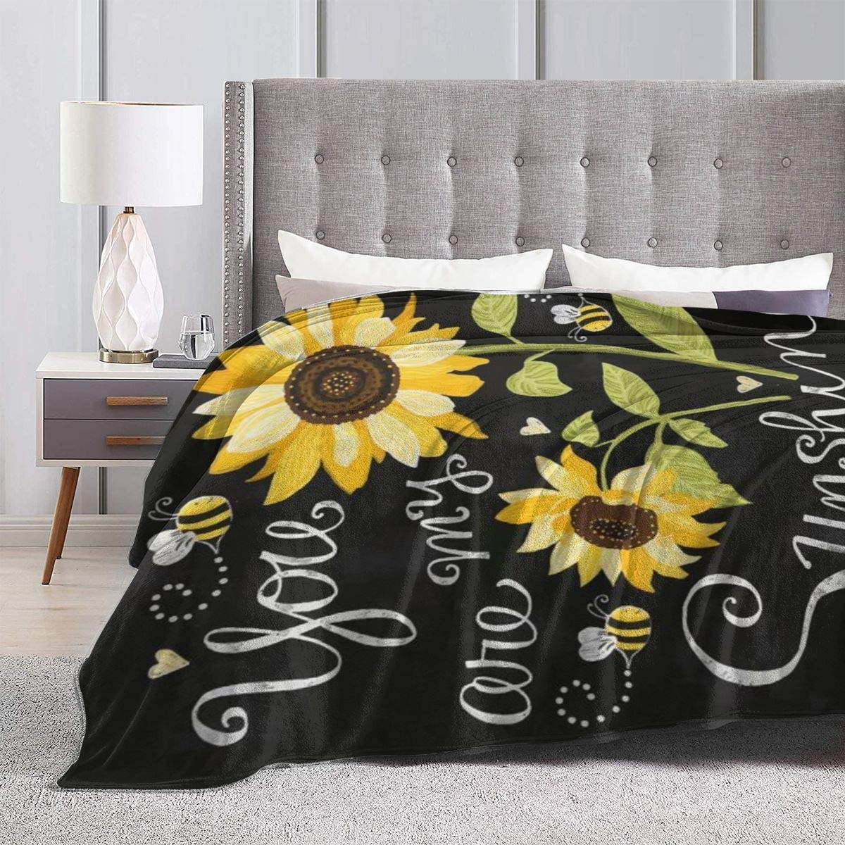 You are My Sunflower Sunshine Bed Blanket Plush Blanket Super Soft Warm Cozy Luxury Lightweight Throw Blanket Microfiber Reversible Blanket for Bed Couch