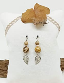 Pendientes de Piedras Naturales, pendientes de mujer, pendientes de Jaspe Paisina, pendientes de hoja, pendientes de acero...