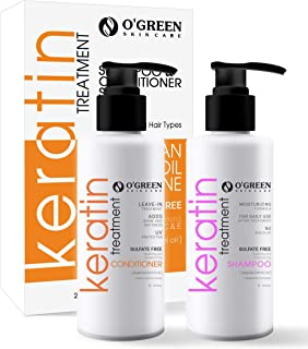 Keratin Shampoo and Conditioner Set -Argan Oil for Dry Thinning Hair, Sulfate Parabens Free - Anti Frizz - ...