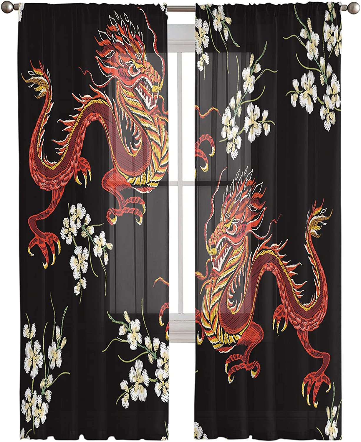Semi Sheer 上質 Window Curtain 63 Inches Emb Long Red 売買 Dragon Chinese