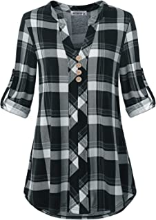 MOQIVGI Womens Roll Tab Sleeve V Neck Plaid Shirts Trendy Casual Checkered Blouse Tops