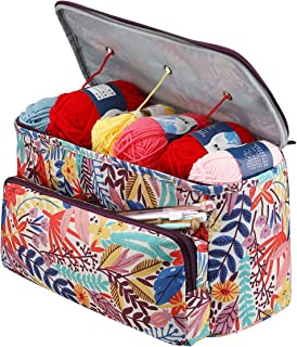 Sac à Tricoter, Sac Tricot Rangement et Organisateurs à Tricoter, Sac de Projet de Crochet pour Les Voyages, Sac Fourre-To...