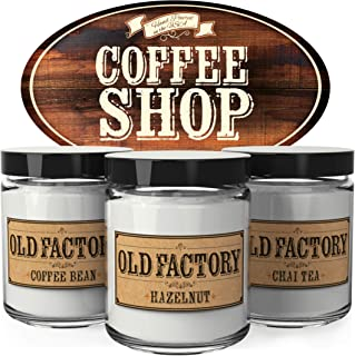 Old Factory Scented Candles - Coffee Shop -Decorative Aromatherapy - Handmade in The USA with Only The Best Fragrance Oils - 3 x 4-Ounce Soy Candles