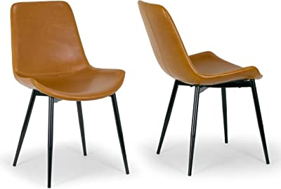 fd47926183c6 Set of 2 Alary Caramel Brown Faux Leather Modern Dining Chair with Black  Iron Legs