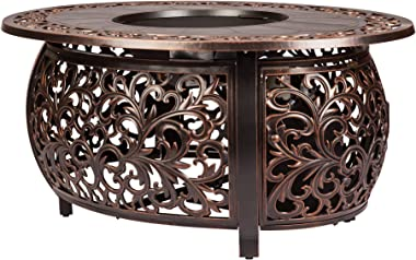 Fire Sense Toulon Cast Aluminum Oval Gas Fire Pit | Antique Bronze | 50,000 BTU Output | 20 Pound LPG