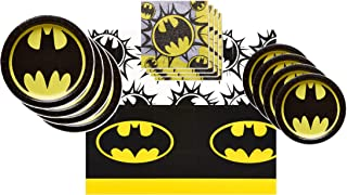 Batman Party Supplies Tableware Bundle Pack for 16 Guests - Includes 16 Dinner Plates, 16 Dessert Plates, 16 Dinner Napkins, and 1 Tablecover