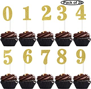 20 PCS Numbers Cupcake Toppers Gold Glitter 0-9 Caupcake Picks Anniversary or Birthday Party Decor