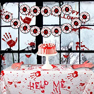Halloween Tablecloth Banner Set - Rectangle Bloody Handprints Disposable Cover, Eyeball Happy Halloween Garland, Haunted D...