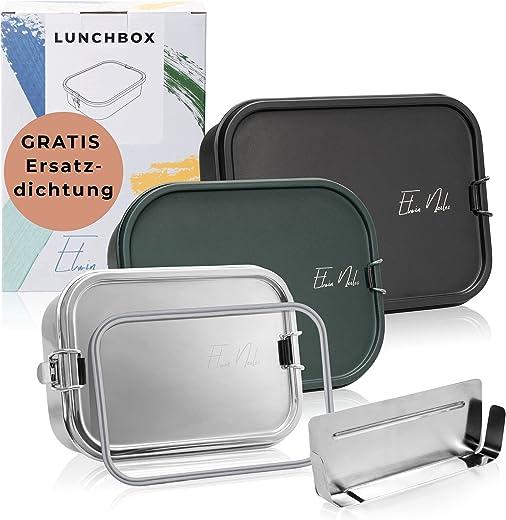 Elwin Neiles® ☀️ 100% auslaufsichere Edelstahl Brotdose [1200 ml] INKL. GRATIS Ersatzdichtung & Trennwand – leicht öffnende Lunchbox für Kinder