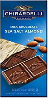 Ghirardelli Gourmet Milk Bar, Sea Salt & Almonds, 3.5 Ounce (Pack of 12)