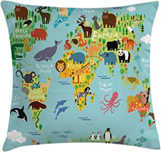 Ambesonne Wanderlust Throw Pillow Cushion Cover, Animal Map of The World for Children Kids Cartoon Mountains Forests, Decorative Square Accent Pillow Case, 16