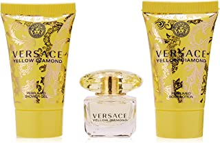Versace Yellow Diamond 3pc MINI Gift-Set Includes Mini Shower Gel, Mini Eau de Parfum, and Mini Body Lotion