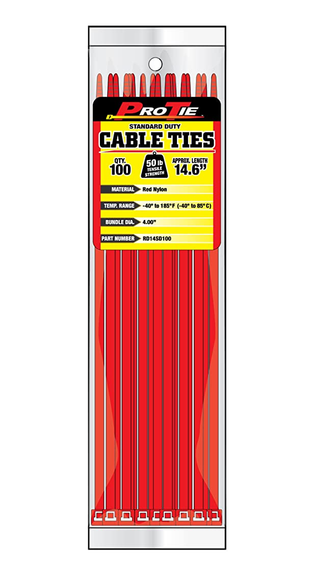 Pro Tie RD14SD100 14.6-Inch Red Standard Duty Color Cable Tie, Red Nylon, 100-Pack cpyhkysv9